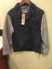 New Men's Jachs Varsity Denim Jacket S Was $129. NWT With Faux Leather Sleeves