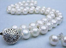 8-9mm Real Natural White Akoya Cultured Pearl Necklace Earrings Jewelry Set 18""