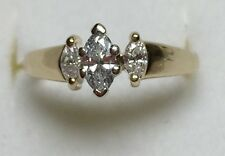 1/3CT NATURAL (REAL) DIAMOND PAST PRESENT FUTURE Engagement RING 14K yellow GOLD