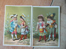 2 x CHROMO TRADE CARD Litho DUBOURG Les Costumes DIDIER-PROST LUNEVILLE 1885