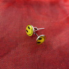 1 pair yellow smiley smily face happy earrings studs stainless surgical steel