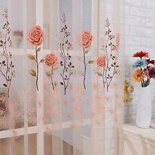 Jacinth Rose Voile Door Window Curtain Panel Sheer Tulle Drape Valance