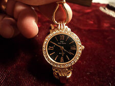 LOVELY BLUE SISTER ROSE GOLD  COLOR QUARTS LADY'S WATCH M- WORKS  NB