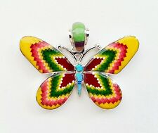 GRACEFUL ARTISAN TURQUOISE/MULTICOLOR INLAY .925 SILVER BUTTERFLY PENDANT