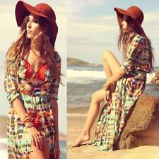 Women Chiffon Boho Printed Kimono Cardigan Long Sleeve Coats Bikini Cover Up G2