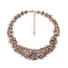 Brand New York Crystal Cluster Statement Necklace Vintage Gold Collar Gift Jewel