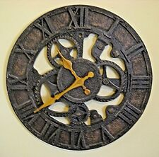 """STEAMPUNK GEARS ROUND 12 3/4"""" WALL CLOCK WITH RUSTIC TEXTURED FINISH * WORKS"""
