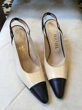 Chanel 37 1/2 Beige & Black Leather Spectator Shoes