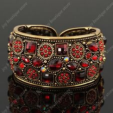 Vintage charm red rhinestone crystal bangle bracelet cuff gold jewelry woman new