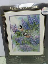 Dimensions Counted Cross-Stitch Kit-Chickadees & Lilacs Gold Collection 12 x 16""