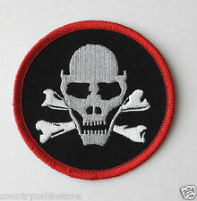 Skull & Cross Bones Death Head Biker Round Embroidered Patch 3 inches