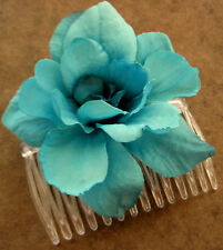 Turquoise Apple Blossom  Silk Flower Hair Comb, Wedding,Luau,Dance,Prom