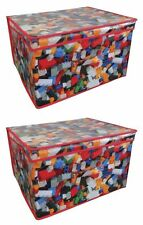 2 x Kids Children's Toy Storage Box Large Boys Bricks Folding Treasure Chest