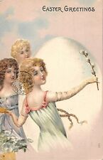 Easter Greetings Ladies with Giant Egg Antique Postcard (J22589)
