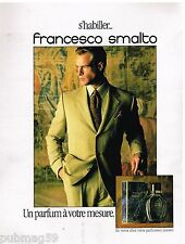 Publicité Advertising 1991 Haute Couture Homme Costume parfum Francesco Smalto