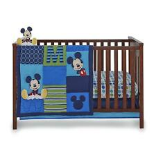 Disney Mickey Mouse 6 Pc Crib Set Comforter Sheet Dust Ruffle Bumper Mobile New!