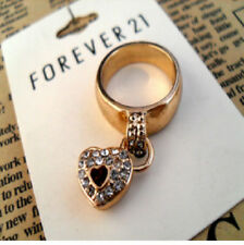R106 Forever 21 Exquisite Crystal Dangling Heart Lock Ring US