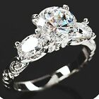 2.7 CT 18K WHITE GOLD ON SILVER SPARKLING SIMULATED MOISSANITE RING_SIZE 8 + 3/4