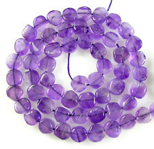 "NATURAL GEMSTONE AFRICAN AMETHYST SMOOTH COIN BEADS 13""  T20"