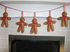 Handmade felt gingerbread man christmas garland