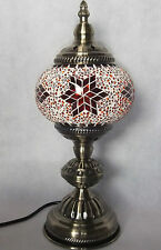Turkish Table Lamp Moroccan Table Light Superior Quality Glass Mosaic & Bronze