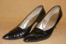1960's Pointed Toe Black Patent Spiked Heels by Mister J = Size 7AAA