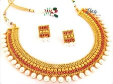 Designer one gram gold plated jewelry set-Indian traditional Jewellery-JWOG138