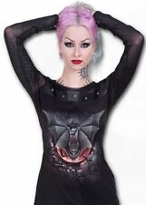 Spiral Direct  VAMPIRE BAT - Mesh Sleeve High Stud-Band Top Black