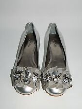 Ladies Boden Silver Leather Jewelled Ballerina Flat Shoes Pumps Size 38 UK 5