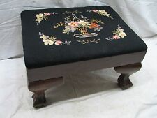 Vintage Hand Carved Claw Foot &Ball Stool Bench Rest Mahogany/Cherry Needlepoint