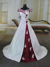 2016 New Luxury White and Red Bridal Gown Wedding Dress Custom-made Size 2-28