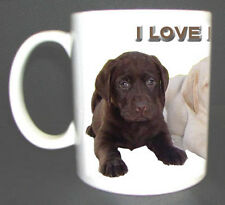 LABRADOR RETRIEVER PUPPIES DESIGN COFFEE MUG. I LOVE LABRADORS. LIMITED EDITION