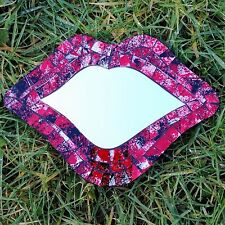 Lips Wall Mirror Mosaic Glass Fair Trade Hand Made Painted Red