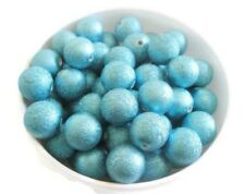 20mm Bubblegum Acrylic Aqua Turquoise Stardust Beads Chunky Necklace Lot of 10