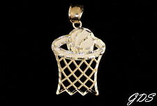 Real Genuine 10K Yellow Gold DIAMOND CUT BASKETBALL HOOP Pendant Charm Piece