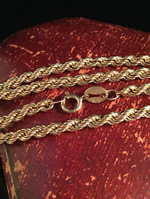 "Lovely Vintage 9ct, 9k, 375 gold rope link chain, length: 18"" / 46 cm"