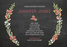 Chalkboard Floral Wreath Couples Bridal Wedding Shower Invitation Any Colors