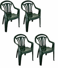 4x Plastic Low Back Garden Chair Lightweight Armchair Home Camping Fishing Picnc