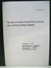 1851 Census Index Series. Vol. 2, A-D. Bethnal Green. P.R.O. bundle HO 107/1542.