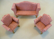Collectable Dolls House Furniture - Red & White Upholstered 3 Piece Suite #2