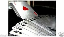 SILVER PLAYING CARDS 24ct LUXURY $100 POKER PLASTIC DECK COLLECTABLE BLACKJACK