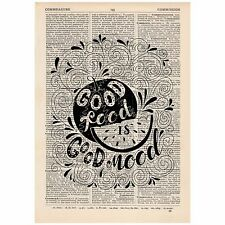 Good Food Is Good Mood Word  Dictionary Art Print OOAK, Art, Inspirational