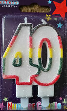 Age 40 Double Candle 40th Birthday Party Candle,Multi Coloured Milestone Birthda