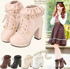 Vintage Women Ankle Boots Girl Ruffles Lace Up Platform High Block Heels Oxford
