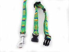 Dog Puppy Collar and Leash Set Nylon Embroidery Pattern for Dogs 4 Colors
