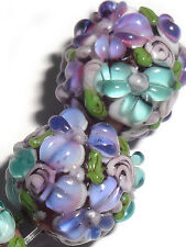 Lampwork Glass Flower Beads Raised Petals Purple 15 mm Round 4 Beads (#a333ple)