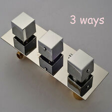 Wall Mount 3 Ways Thermostatic Valve Mixer Chrome Square Plate Valve