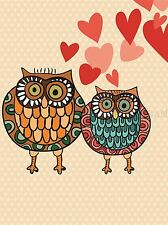 VALENTINE OWL LOVE ILLUSTRATION BIRD PHOTO ART PRINT POSTER PICTURE BMP1590A