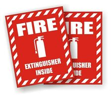 (2) Fire Extinguisher Inside Safety Decals / Stickers / Industrial Safety Labels