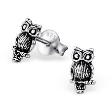 Childrens Girls 925 Sterling Silver cute OXIDISED OWL Stud earrings boxed